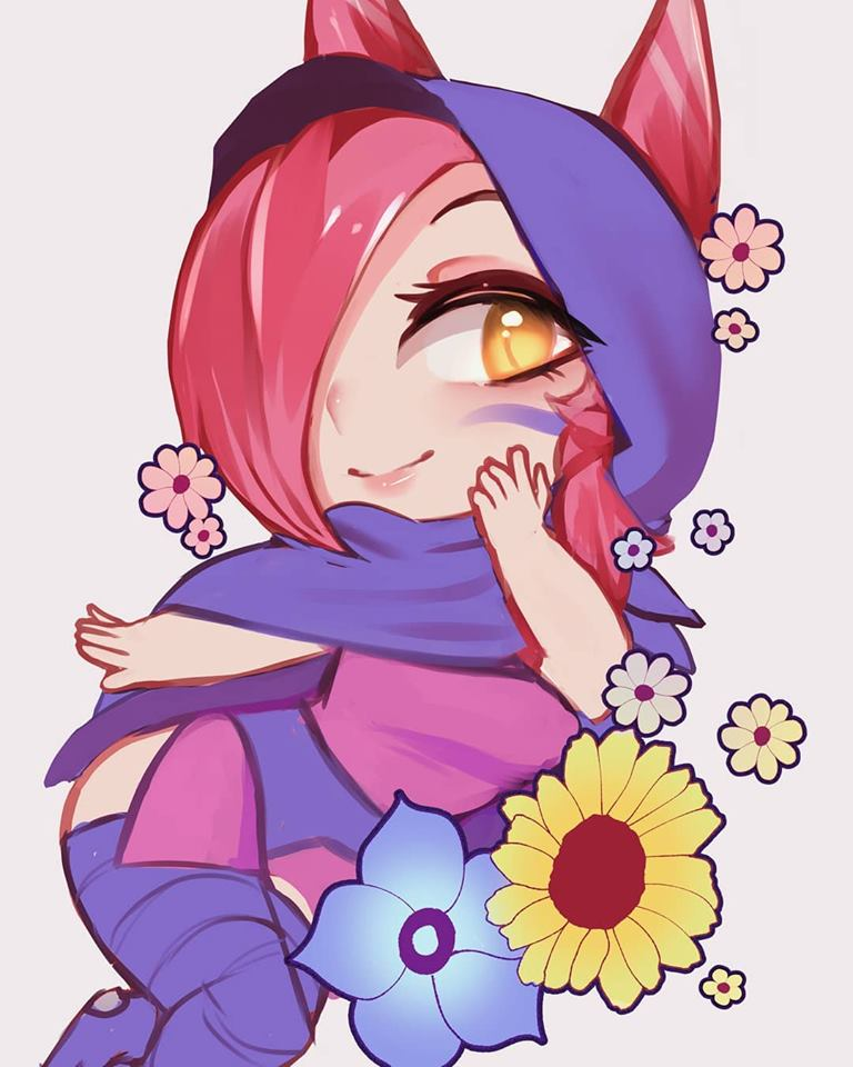 Xayah cute doodle with flowers